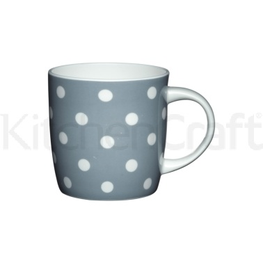 Kitchen Craft Fine Bone China Grey Spots Barrel Mug