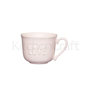 KitchenCraft Stoneware Embossed Love Breakfast Cup
