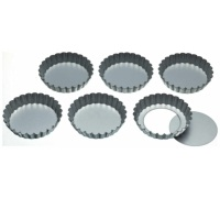 Set di 6 teglie da crostata con base apribile 10cm