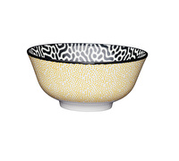 KitchenCraft Yellow Polka Dot / Black and White Print Ceramic Bowls
