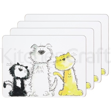 Kitchen Craft Cat & Dog Cork Back Laminated Set of 4 Placemats