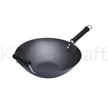 KitchenCraft Oriental Carbon Steel 35.5cm Non-Stick Wok