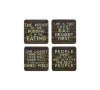 KitchenCraft Slogan Cork Back Laminated Set of 4 Coasters