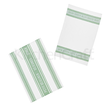 KitchenCraft Jacquard Tea Towels - Jacquard Green