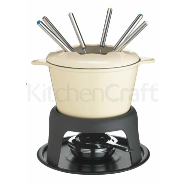 Master Class Cast Iron Enamelled Cream Fondue Set