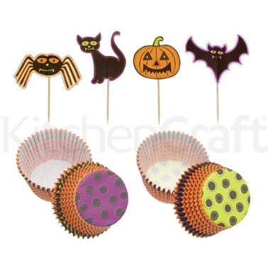 Spookily Does It Pack of 24 Halloween Cake Cases and Toppers