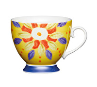 KitchenCraft Set of Four Bone China Moroccan Yellow Footed Mugs
