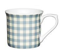 KitchenCraft Set of Four Fluted Fine Bone China Blue Gingham Mugs