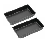 KitchenCraft Non-Stick Mini Fluted Oblong Tart Tins