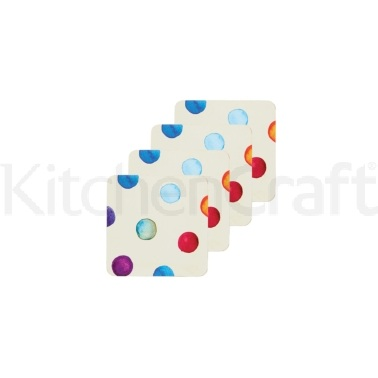 KitchenCraft Polka Dot Cork Back Laminated Set of 4 Coasters