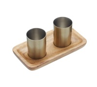 BarCraft Three Piece Brass Finish Shot Gift Set