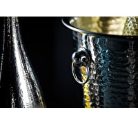 BarCraft Hammered-Steel Sparkling Wine & Champagne Bucket with Ring Handles