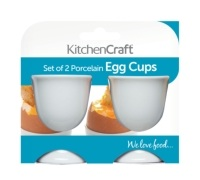 Kitchen Craft Set of 2 White Porcelain Egg Cups