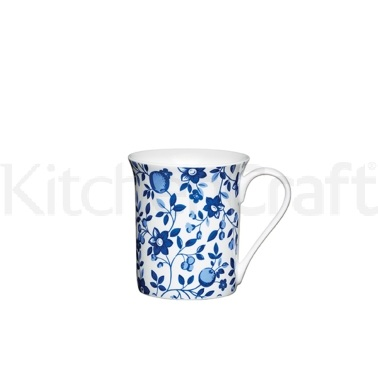 Kitchen Craft Traditional Blue Fine Bone China Trail Flute Mug