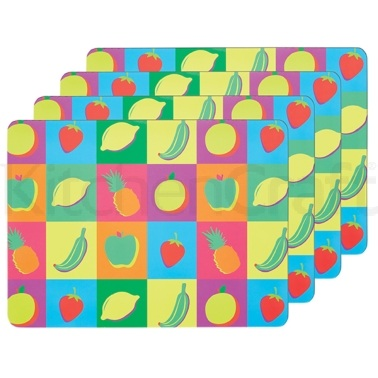 KitchenCraft Fruit Cork Back Laminated Set of 4 Placemats