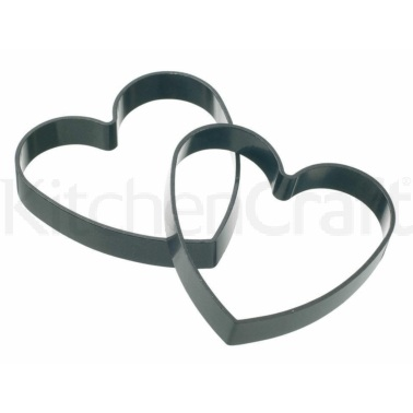 KitchenCraft Set of 2 Non-Stick Heart Shaped Egg Rings
