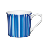 KitchenCraft Set of Four Fluted Fine Bone China Blue Stripe Mugs