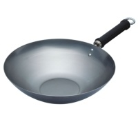 World of Flavours Oriental Plain Carbon Steel 30cm Wok