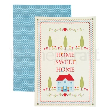 KitchenCraft Home Sweet Home Set of 2 Tea Towels