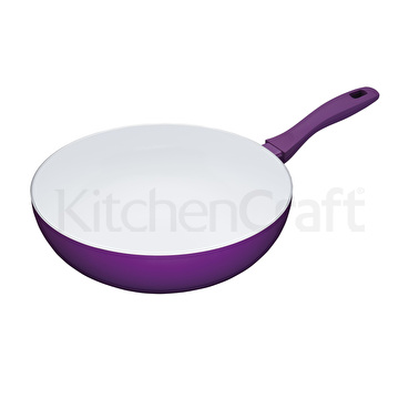 Colourworks 30cm Non-Stick Carbon Steel Purple Wok