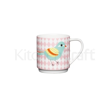 KitchenCraft Bone China Pink Diamond Bird Stacking Mug
