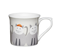 KitchenCraft Set of Four Fluted Fine Bone China Cats Mugs