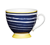 KitchenCraft Set of Four Bone China Navy Stripes Footed Mugs