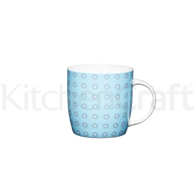 KitchenCraft Fine Bone China Blue Daisy Barrel Mug