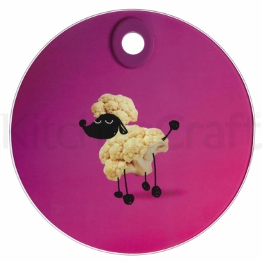 Kitchen Craft Toughened Glass Round Worktop Protector - Poodle