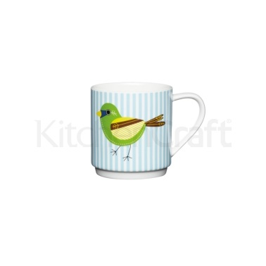 KitchenCraft Bone China Blue Stripe Bird Stacking Mug