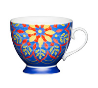 KitchenCraft Set of Four Bone China Moroccan Blue Footed Mugs