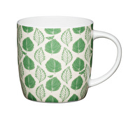 KitchenCraft Set of Four Fine Bone China Green Leaf Mugs