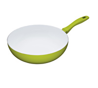 Colourworks 30cm Non-Stick Carbon Steel Green Wok