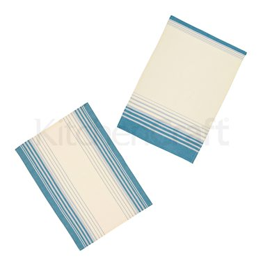 KitchenCraft Set of 2 Jacquard Stripe Tea Towels