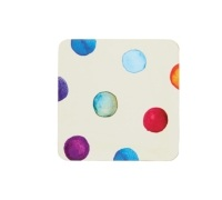 Kitchen Craft Polka Dot Cork Back Laminated Set of 4 Coasters