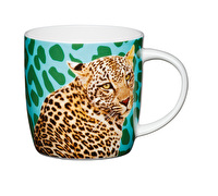 KitchenCraft Set of Four Fine Bone China Cheetah Mugs