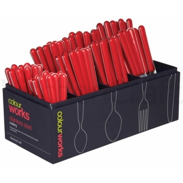 Colourworks 96 Piece Red Cutlery Merchandiser