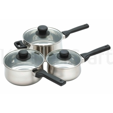 KitchenCraft Stainless Steel Three Piece Saucepan Set