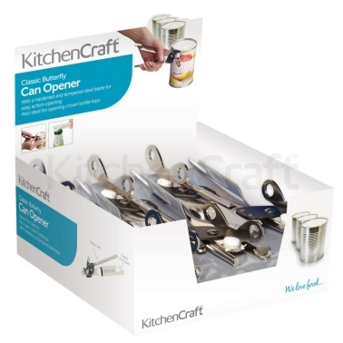 Kitchen Craft Display of 12 Butterfly Style Can Openers