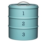 Living Nostalgia Vintage Blue Three Tier Cake Tin Set