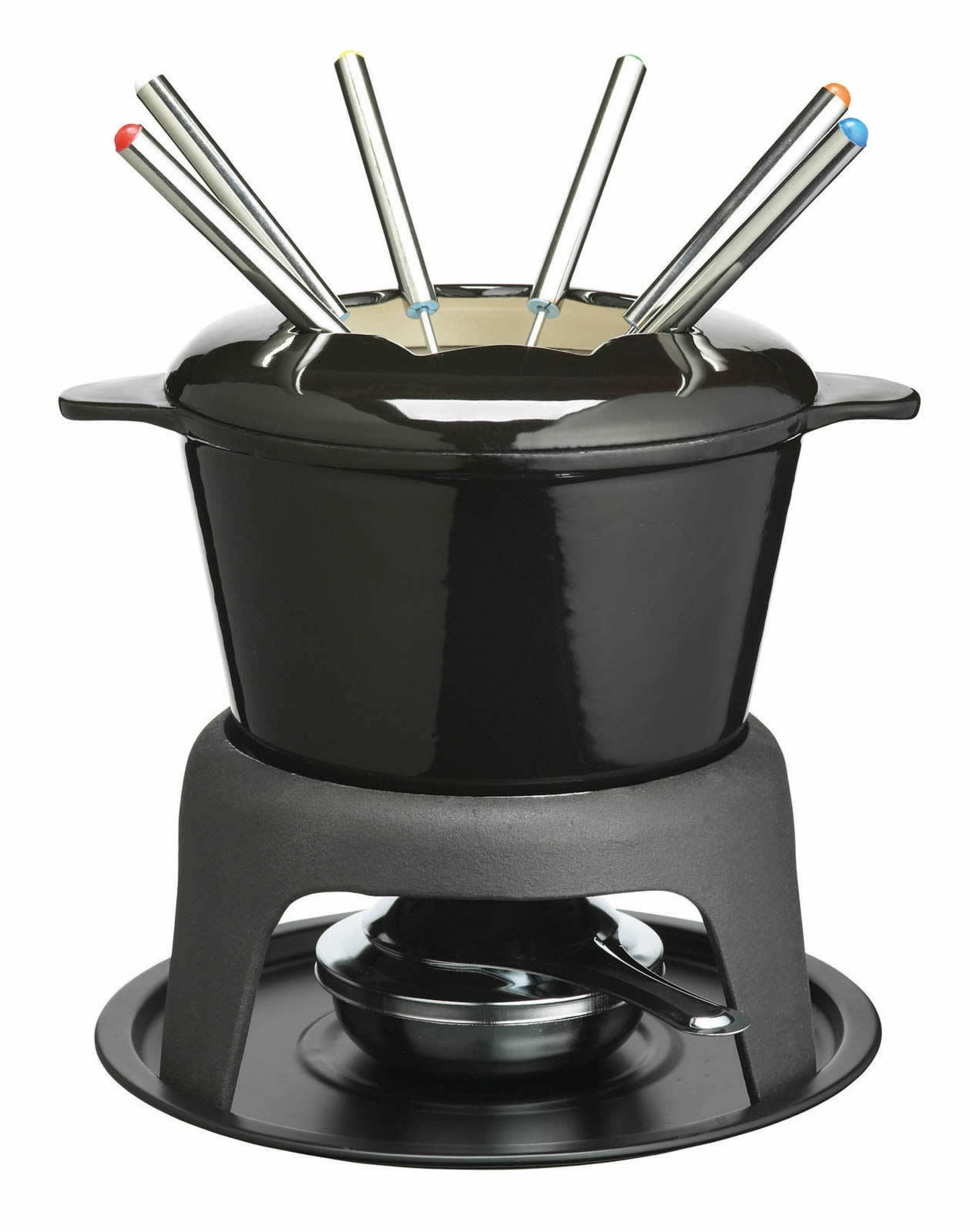 masterclass cast iron enamelled black fondue set cast. Black Bedroom Furniture Sets. Home Design Ideas