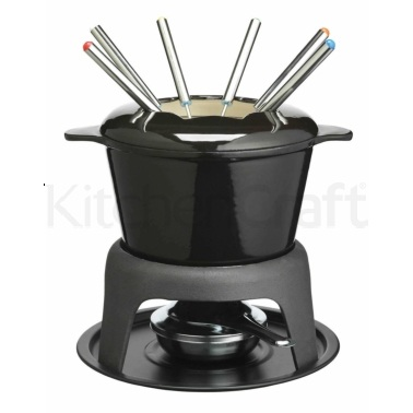 Master Class Cast Iron Enamelled Black Fondue Set