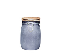 Industrial Kitchen Medium Glass Storage Jar with Acacia Lid