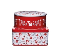 Winter Woodland Set of 2 Storage Tins