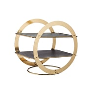Artesà 2-Tier Geometric Brass-Finished Serving Stand with Slate Serving Platters