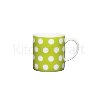 KitchenCraft 80ml Porcelain Green Polka Dot Espresso Cup