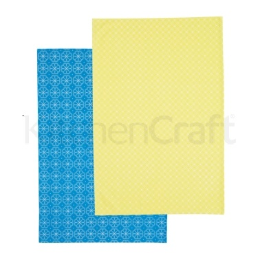 Kitchen Craft Set of 2 Tiled Patterned Tea Towels