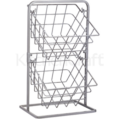 Industrial Kitchen 2 Tier Distressed Paintwork Industrial Style Wire Storage Baskets