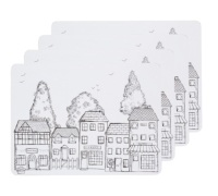 Kitchen Craft Village Cork Back Laminated Set of 4 Placemats