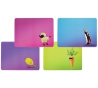 KitchenCraft Funky Vegetable Cork Back Laminated Set of 4 Placemats
